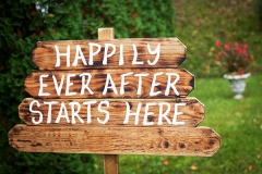 Happily-ever-after-sign-on-wooden-board---wedding-venue-or-honeymoon-sign