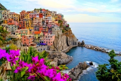Village-of-Manarola,-on-the-Cinque-Terre-coast-of-Italy-with-flowers